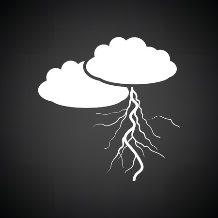 white clouds: Clouds and lightning icon. Black background with white. Vector illustration.