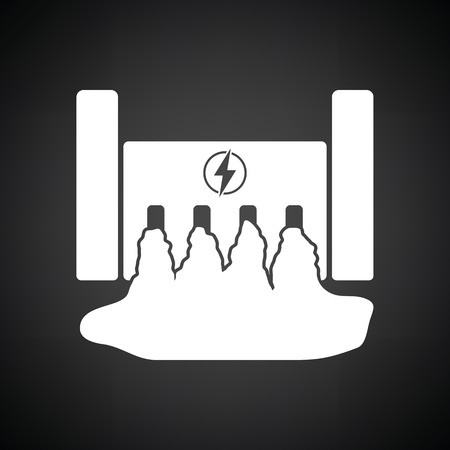 barrage: Hydro power station icon. Black background with white. Vector illustration.