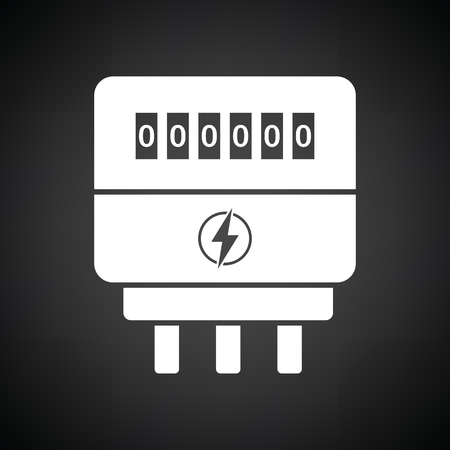 electric meter: Electric meter icon. Black background with white. Vector illustration.