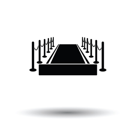 Red carpet icon. White background with shadow design. Vector illustration.