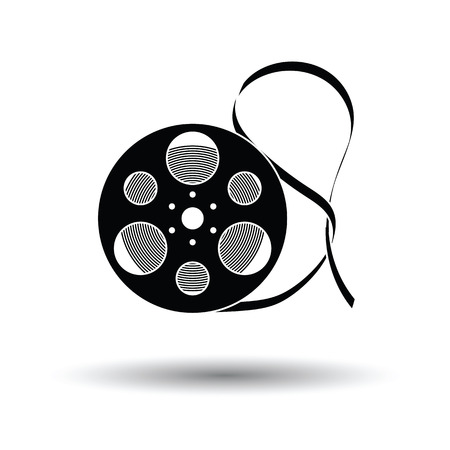 Movie reel icon. White background with shadow design. Vector illustration.
