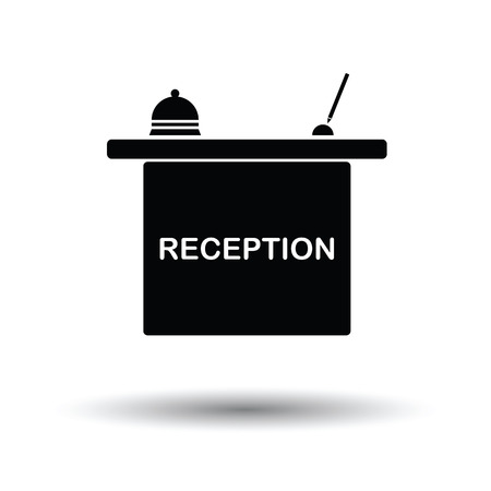 reception: Hotel reception desk icon. White background with shadow design. Vector illustration.
