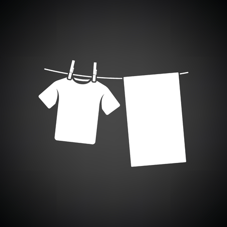 towel: Drying linen icon. Black background with white. Vector illustration.