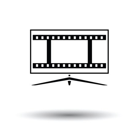 Cinema TV screen icon. White background with shadow design. Vector illustration.
