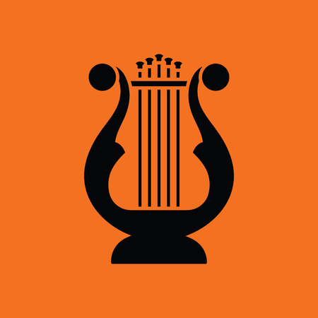 performance art: Lyre icon. Orange background with black. Vector illustration. Illustration
