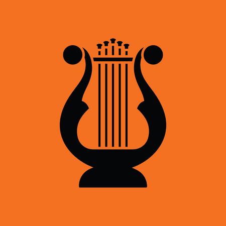 writing instruments: Lyre icon. Orange background with black. Vector illustration. Illustration