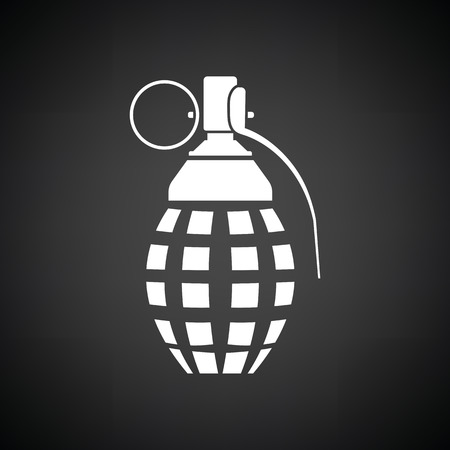 defensive: Defensive grenade icon. Black background with white. Vector illustration.