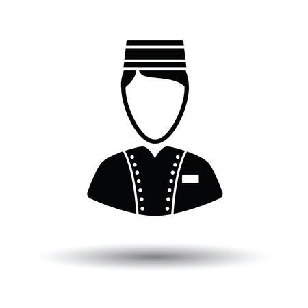 doorkeeper: Hotel boy icon. White background with shadow design. Vector illustration. Illustration