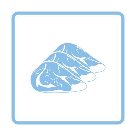 raw meat: Raw meat steak icon. Blue frame design. Vector illustration.