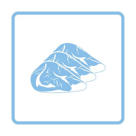 fillet steak: Raw meat steak icon. Blue frame design. Vector illustration.