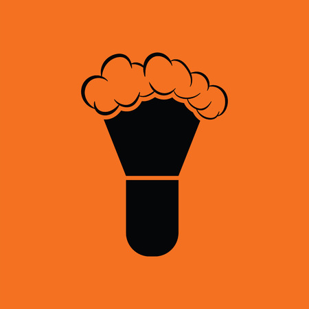 shaving brush: Shaving brush icon. Orange background with black. Vector illustration.