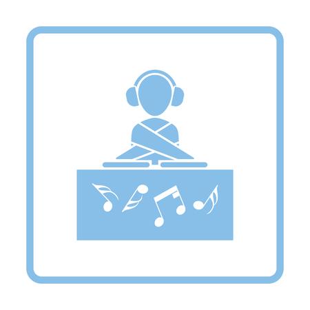 night club: Night club DJ icon. Blue frame design. Vector illustration.