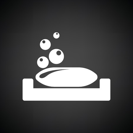 sudsy: Soap-dish icon. Black background with white. Vector illustration.