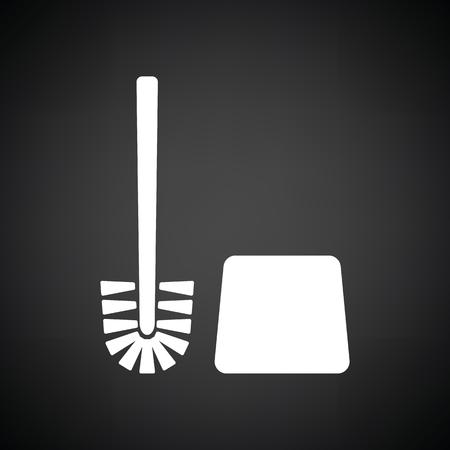 toilet brush: Toilet brush icon. Black background with white. Vector illustration.