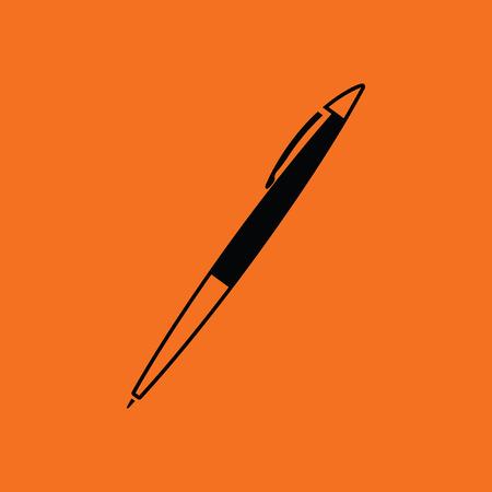 Pen icon. Orange background with black. Vector illustration.