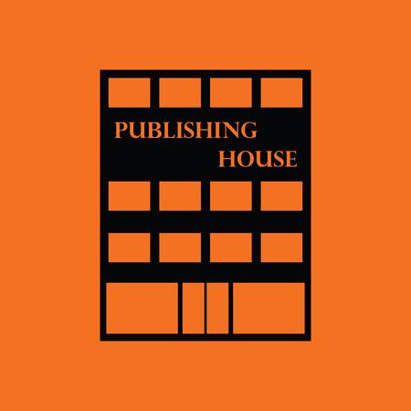 issuer: Publishing house icon. Orange background with black. Vector illustration.