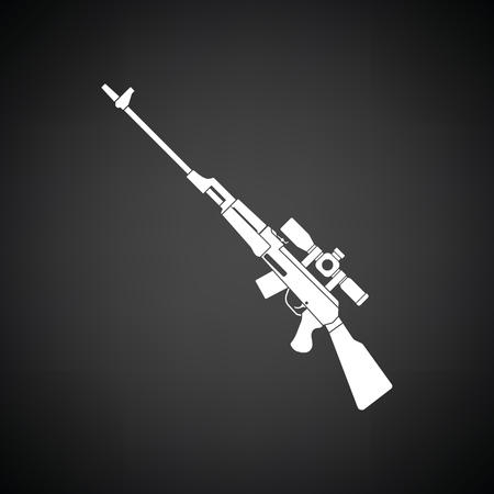 sniper rifle: Sniper rifle icon. Black background with white. Vector illustration.