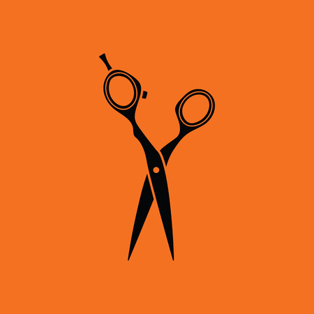 scissors hair: Hair scissors icon. Orange background with black. Vector illustration.