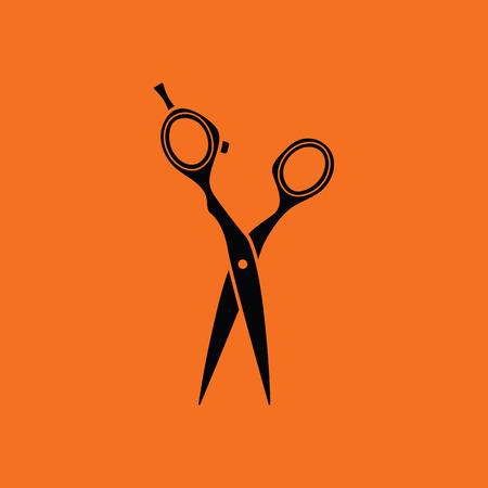 hair scissors: Hair scissors icon. Orange background with black. Vector illustration.