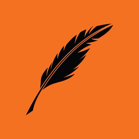 Writing feather icon. Orange background with black. Vector illustration.