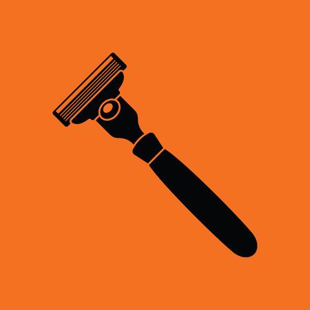 icône de rasoir de sécurité. Orange fond noir. Vector illustration.