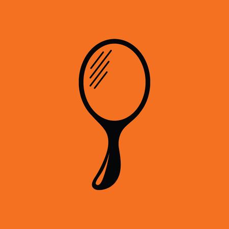 Hand-glass icon. Orange background with black. Vector illustration. Illustration