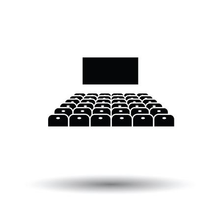 Cinema auditorium icon. White background with shadow design. Vector illustration.