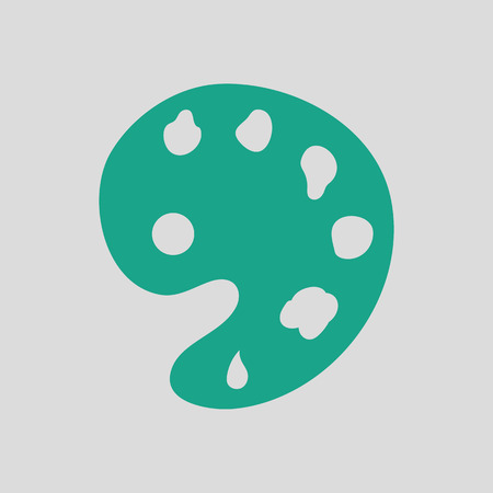 Palette icon. Gray background with green. Vector illustration.