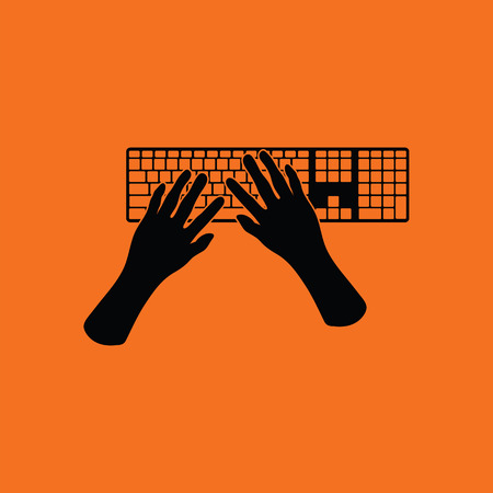 typing: Typing icon. Orange background with black. Vector illustration.