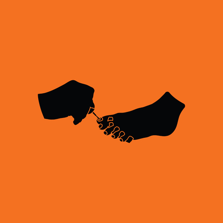 toenail: Pedicure icon. Orange background with black. Vector illustration.