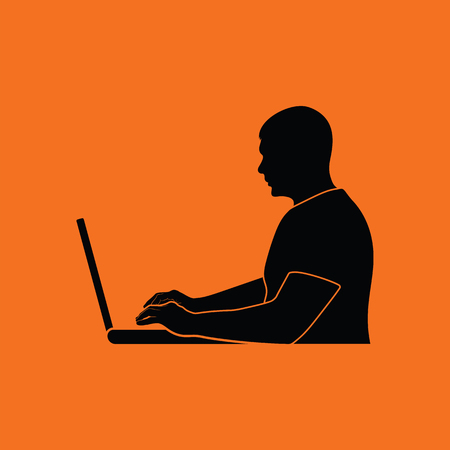author: Writer at the work icon. Orange background with black. Vector illustration.
