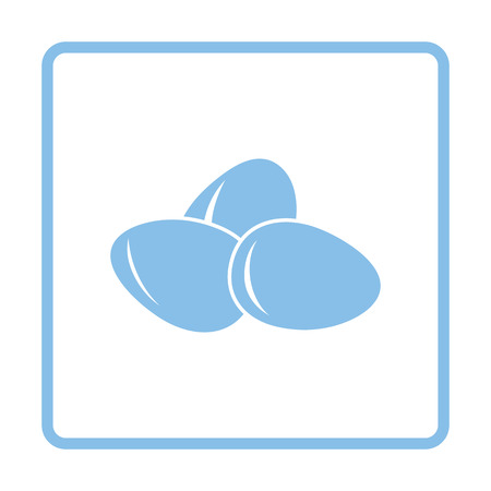 raw egg: Eggs icon. Blue frame design. Vector illustration.