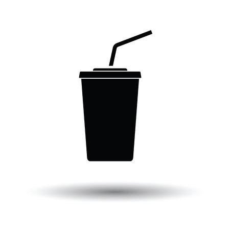 sip: Cinema soda drink icon. White background with shadow design. Vector illustration. Illustration