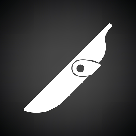 cold war: Knife scabbard icon. Black background with white. Vector illustration. Illustration