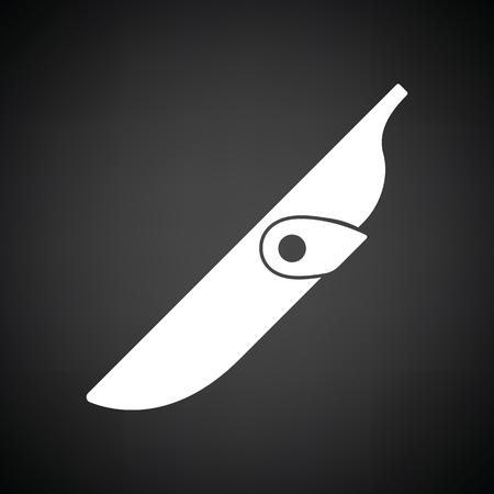 scheide: Messerscheide Symbol. Schwarzer Hintergrund mit weißen. Vektor-Illustration.