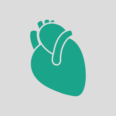 Human heart icon. Gray background with green. Vector illustration.