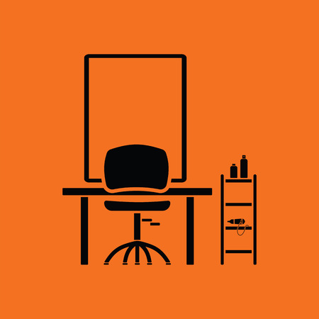 barbershop: Barbershop icon. Orange background with black. Vector illustration.