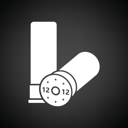 arsenal: Hunt gun ammo icon. Black background with white. Vector illustration.