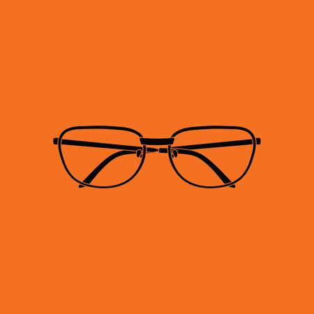 Glasses icon. Orange background with black. Vector illustration.
