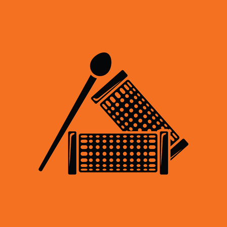rulos: Hair curlers icon. Orange background with black. Vector illustration.