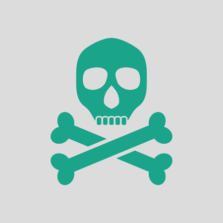poison sign: Poison sign icon. Gray background with green. Vector illustration.