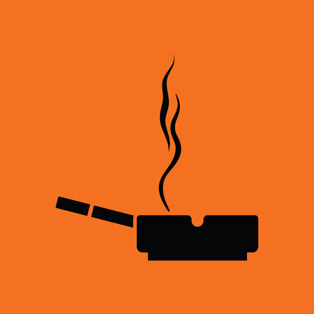 carcinogen: Cigarette in an ashtray icon. Orange background with black. Vector illustration.