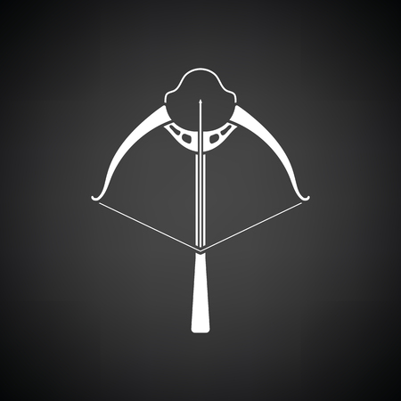 arbalest: Crossbow icon. Black background with white. Vector illustration. Illustration