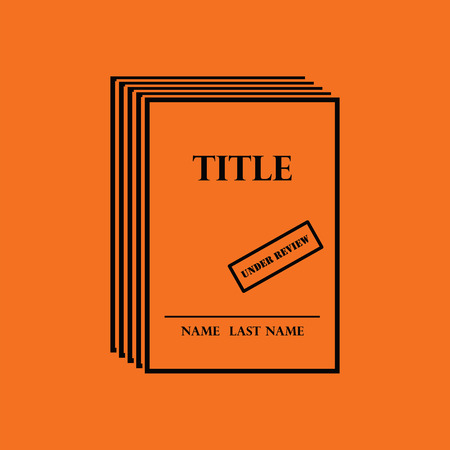 single story: Manuscript under review icon. Orange background with black. Vector illustration.