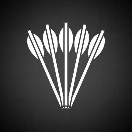 bowstring: Crossbow bolts icon. Black background with white. Vector illustration.