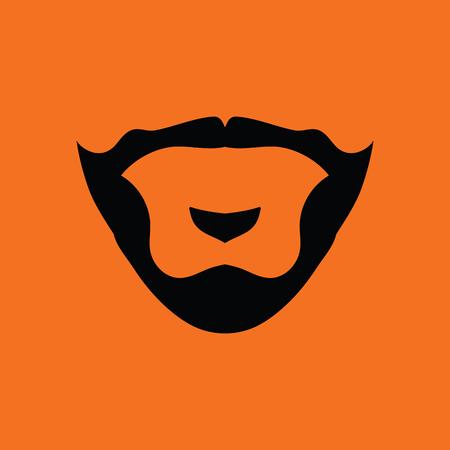 Goatee icon. Orange background with black. Vector illustration. Illustration