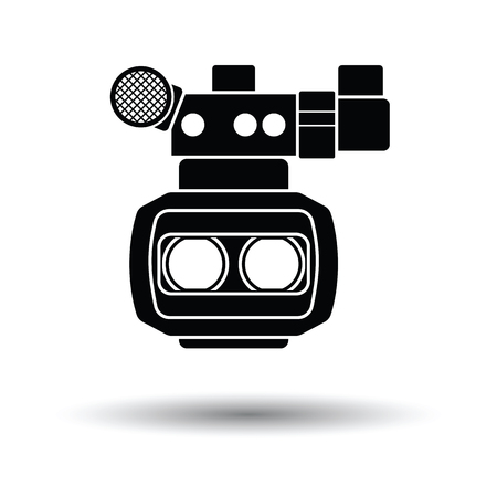 3d movie camera icon. White background with shadow design. Vector illustration.