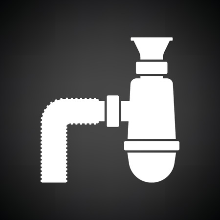 siphon: Bathroom siphon icon. Black background with white. Vector illustration.