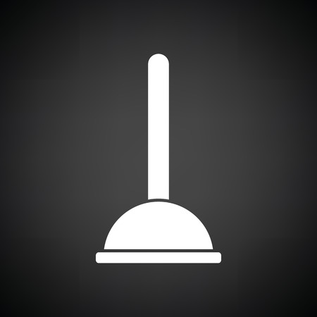 unblock: Plunger icon. Black background with white. Vector illustration. Illustration