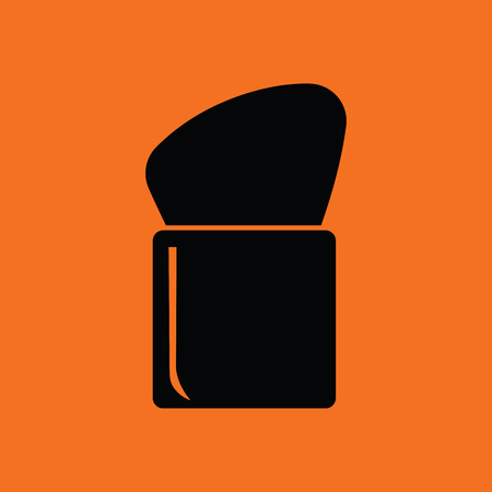 personal accessories: Make Up brush icon. Orange background with black. Vector illustration.